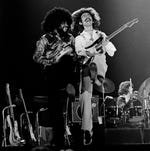 George Harrison (right) and Billy Preston perform on Dec. 13, 1974, at the Capitol Center in Landover, Md.