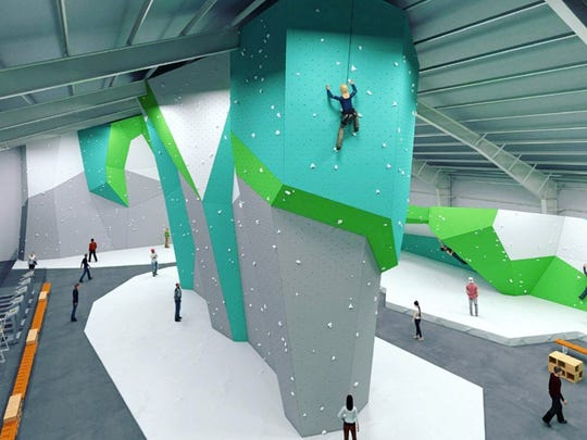 A rendering of a rock climbing gym that will occupy