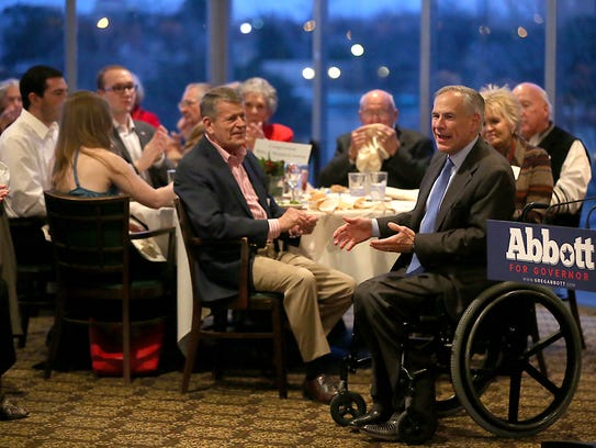 Texas Gov. Greg Abbott speake before a crowd of supporters