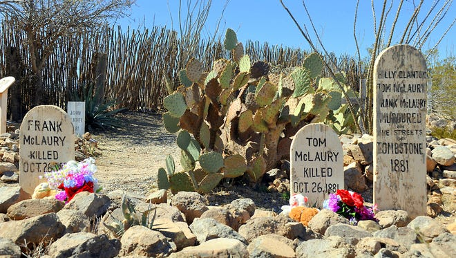 Gravestones in Tombstone, Ariz., mark some of the dead from the gunbattle at the O.K. Corral.