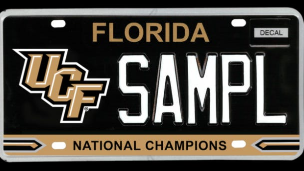 A new UCF 'national champions' license plate depends on lawmakers.