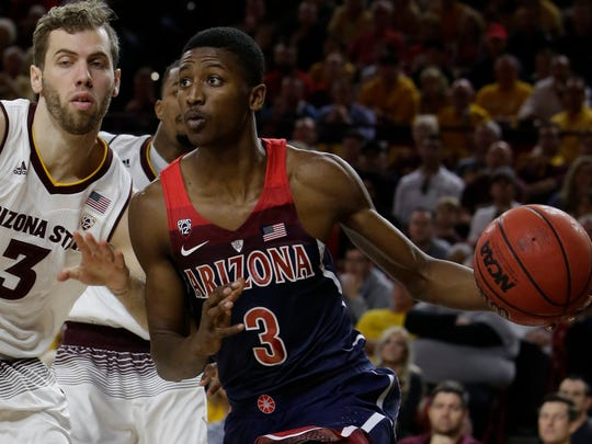 Arizona guard Dylan Smith (3) in the second half during an NCAA college basketball game against Arizona State, Thursrday, Feb. 15, 2018, in Tempe, Ariz. Arizona defeated Arizona State 77-70. (AP Photo/Rick Scuteri)