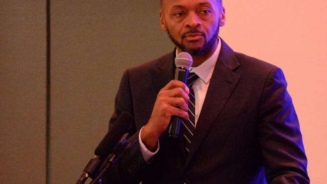 Brockton lawyer Michael Curry speaking during the 32nd annual Rev. Dr. Martin Luther King Jr. breakfast held at Lombardo's in Randolph in 2018 in this file photo. Curry is calling for change to police practices following the death of George Floyd while in police custody in Minneapolis on May 25, 2020.