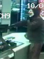 A clown mask robber Tuesday night, Oct. 4, 2016 in