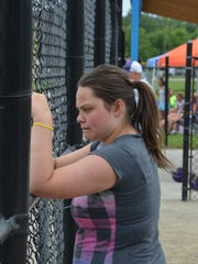 Karlie Wellspring, 15, watches her twin brothers as they competed at the BPA World Series at Bailey Park.