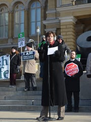 Lt. Gov. Kim Reynolds speaks during an anti-abortion march Saturday, Jan. 16, 2016, at the Iowa Capitol.