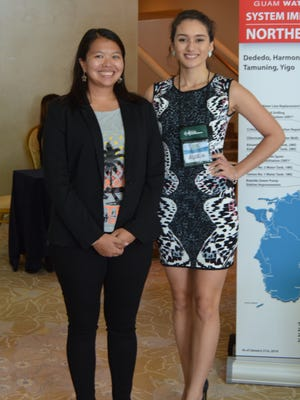 CJ Cayanan, wildlife biologist from the Department of Agriculture, left and Gloria Nelson, Miss Earth 2016 attend the 2016 Island Sustainability Conference on April 14.