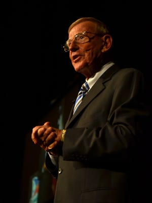 Lou Holtz speaks at the Acadian Ambulance Paramedic of the year awards in Lafayette, LA on May 6, 2016.