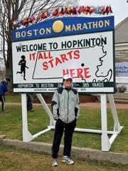 Doug White prior to the start of a recent Boston Marathon