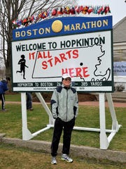 Doug White prior to the start of a recent Boston Marathon in Hopkinton, Mass.