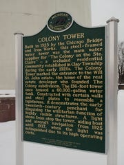 The historic site sign for the Colony Tower Wednesday, Dec. 21 in Clay Township.