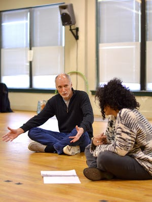 "Jeff Hayenga and Tonye Patano in rehearsal for the production of ""Circle Mirror Transformation"" at Actors Theatre of Louisville."