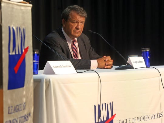 George Latimer debates Ken Jenkins for County Executive during a candidates forum by the League of Women Voters at  Chappaqua Library in Chappaqua Sept. 5, 2017.