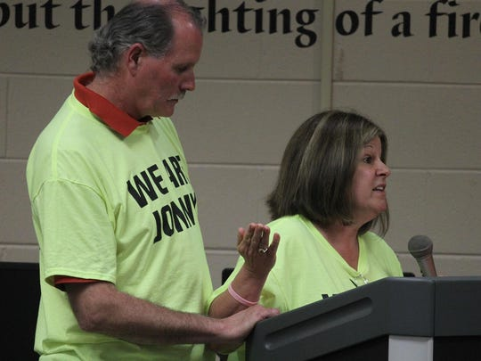 Lisa Ort Sondergard comments on the bullying conditions in the Edgar school system at the Edgar School Board meeting as the bullying-related suicide of Jonathan Wesener and its aftermath were discussed, Monday, June 29, 2015. Standing behind her is her husband Jack Sondergard.