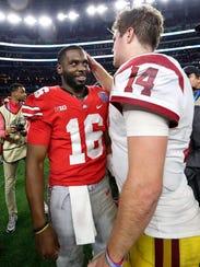 USC quarterback Sam Darnold congratulates Ohio State