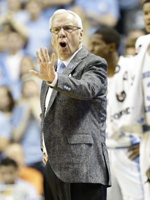 North Carolina head coach Roy Williams reacts during the second half of an NCAA college basketball game against Notre Dame in Greensboro, N.C.