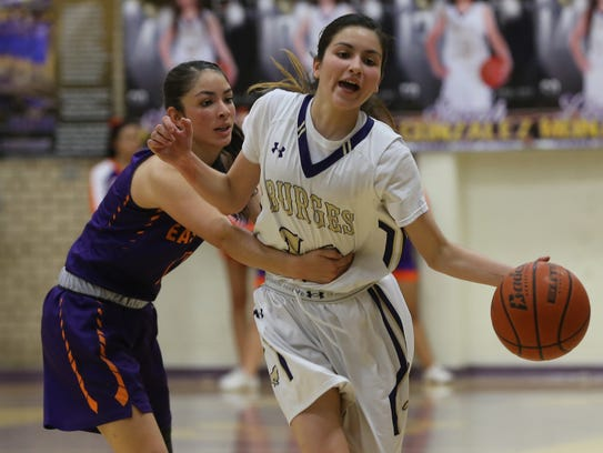 Burges' Natalie Sanchez, right, is fouled by Eastlake's