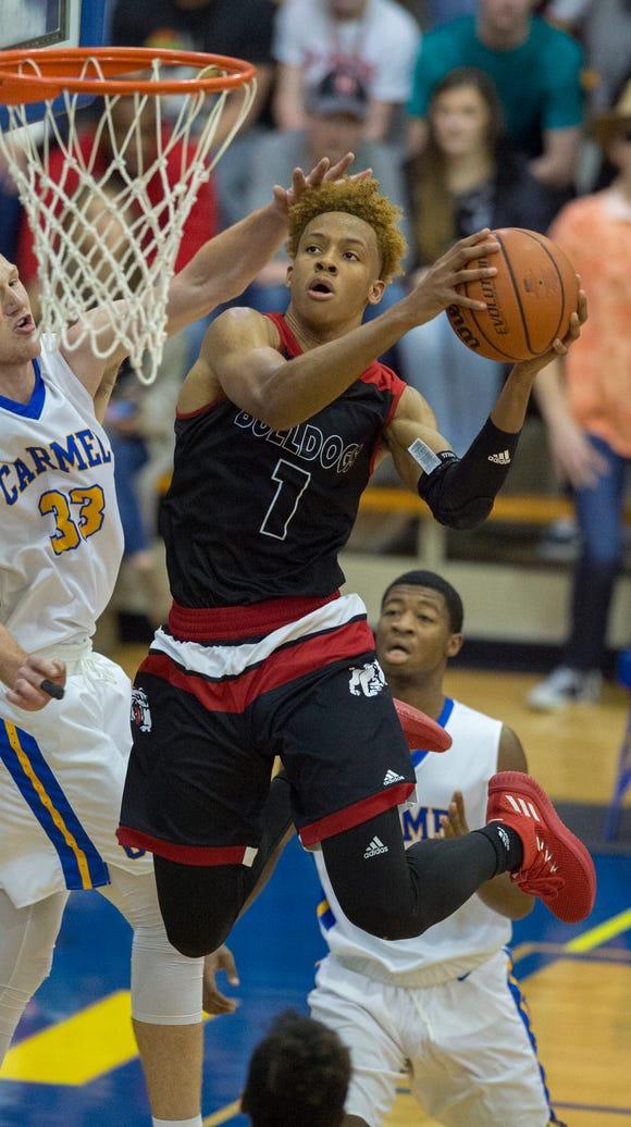 New Albany High School senior Romeo Langford (1) takes