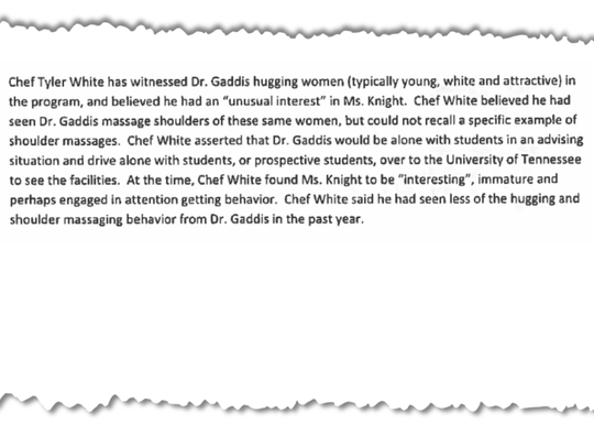 Pictured is a section of Pellissippi's investigative report into Caitlin Knight's allegations against Tom Gaddis.