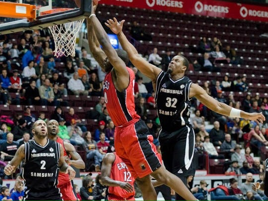 Tim Parham goes up for a dunk for the Windsor Express.