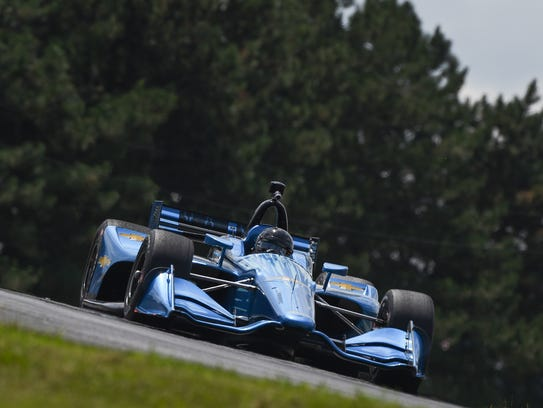 Juan Pablo Montoya drives Chevrolet's 2018 Indy car