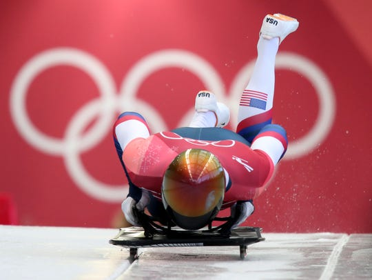 American John Daly competes in the skeleton event during