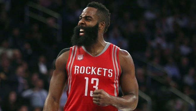 Houston Rockets shooting guard James Harden (13) reacts during the third quarter against the New York Knicks at Madison Square Garden.