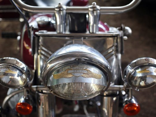 A detail of the 1947 Harley-Davidson bike that Cuban harlista Antonio Ramirez restored and owns. Photo taken in the municipality of Arroyo Naranjo in Havana on June 22, 2016. (Photo by Ernesto Salazar/Special to the Daily News)