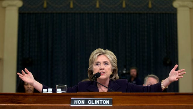 Democratic presidential candidate and former Secretary of State Hillary Rodham Clinton testifies on Capitol Hill in Washington, Thursday, Oct. 22, 2015, before the House Select Committee on Benghazi. (AP Photo/Carolyn Kaster, File)