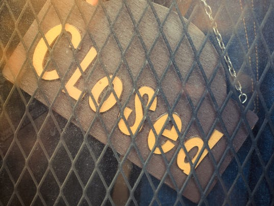 closed word, sign on vintage board of the jeans shop