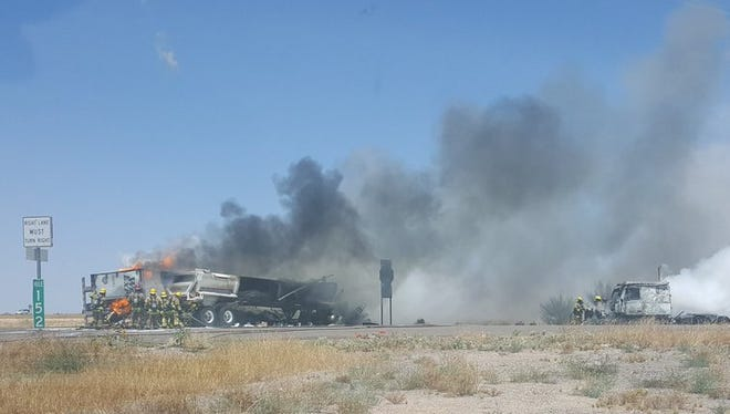One driver died in a fiery crash involving two semitrucks on State Route 85 south of Interstate 10 on May 11, 2017.
