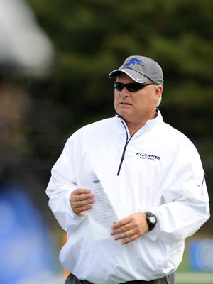 Faulkner coach Charlie Boren during warmups before the Lindsey Wilson game on Saturday September 26,  2014 at Faulkner University in Montgomery, Ala.