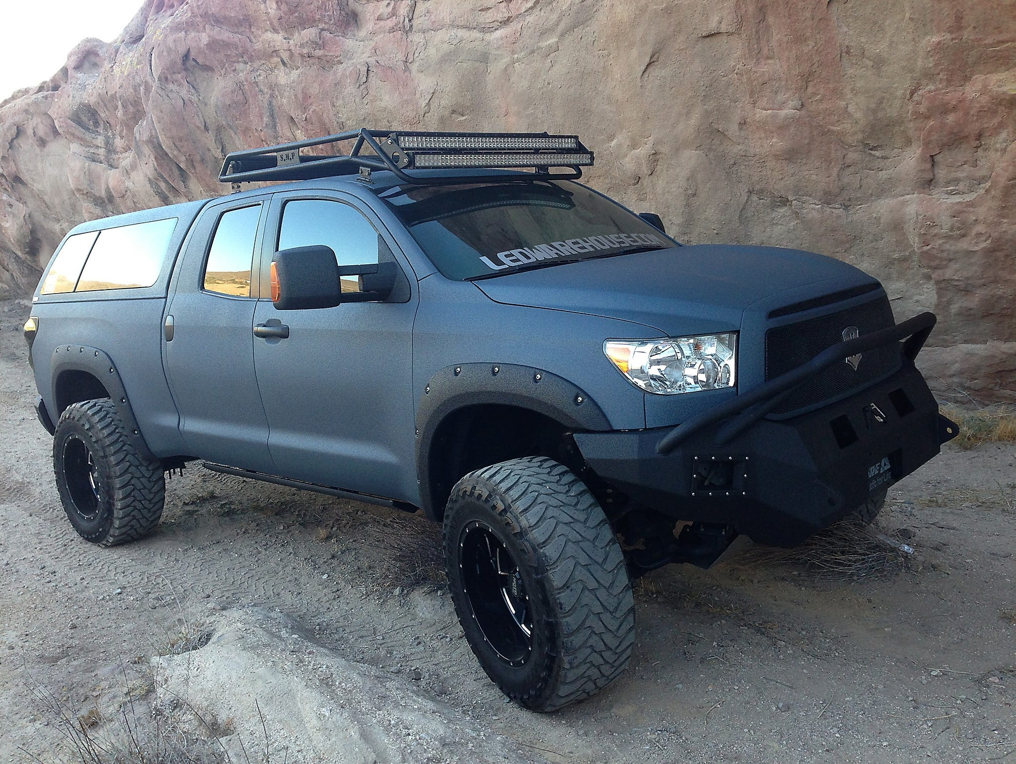 A Toyota Tundra painted with LINE,X, a spray,on protective coating,