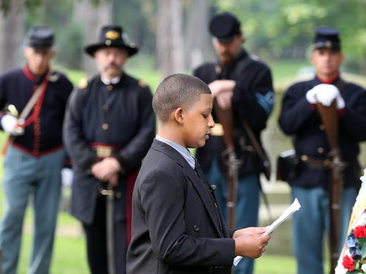 Michael Perez, of School 9 in Rochester, reads the Gettysburg Address  in honor of Colonel Patrick O'Rorke.