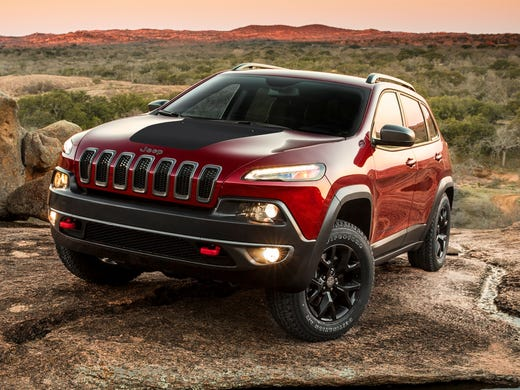 The 2014 Jeep Cherokee's top-level Trailhawk model. It has its own front and rear trim with aggressive approach and departure angles and is the most off-road designed version of the new Cherokee.