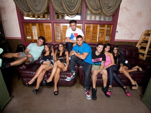 """The 'Jersey Shore' cast enters its sixth and final season of fun and frolic. USA TODAY'S Cindy Clark checks in with the crew at Rivoli's, their favorite local restaurant. The cast is: Mike """"The Situation,"""" left, Deena, Sammi, Pauly D, Ronnie, Vinny, Jenni JWOWW and Snooki."""