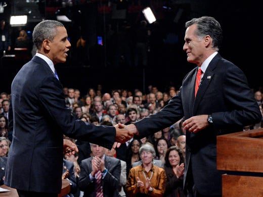President Obama shakes hands with Republican presidential nominee Mitt Romney after the first presidential debate. Pre-debate opinion polls showed Obama with a slight advantage in key battleground states and nationally.
