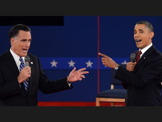 President Obama and Republican presidential candidate Mitt Romney gesture at each other during the second presidential debate.