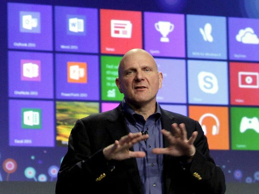 Microsoft CEO Steve Ballmer gives his presentation at the launch of the company's Windows 8 operating system on Oct. 25 in New York City. Windows 8 is the most dramatic overhaul of the personal computer market's dominant operating system in 17 years.