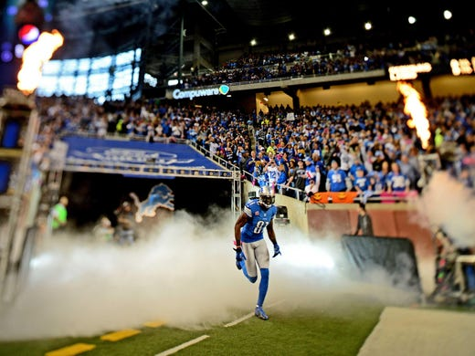 Detroit Lions wide receiver Calvin Johnson during player introductions prior to the game against the Seattle Seahawks at Ford Field.