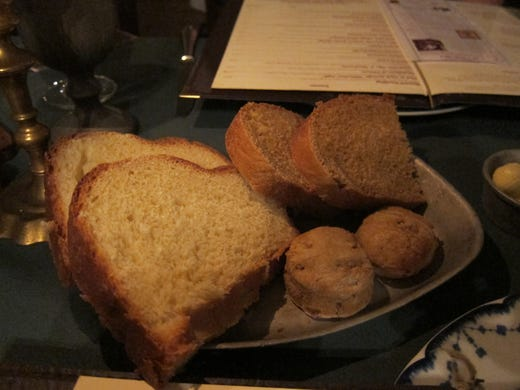 Breads at City Tavern are all made in house from classic recipes, such as anadama with cornmeal and molasses or sweet potato biscuits.
