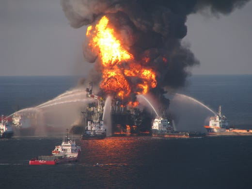 Fire crews battle a blaze on the Deepwater Horizon oil rig owned by the British oil company BP on April 21, 2010, in the Gulf of Mexico near New Orleans.