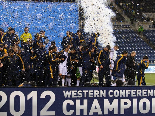 Western Conference Final (second leg): Los Angeles Galaxy players celebrate following their 4-2 aggregate win over the Seattle Sounders. The match ended in a 2-1 win for Seattle.