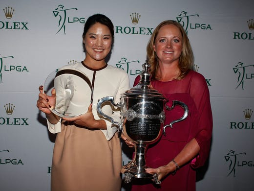 Louise Suggs Rolex Rookie of the Year So Yeon Ryu of South Korea, left, and and Rolex Player of the Year Stacy Lewis at the LPGA Rolex Awards Celebration at the Ritz-Carlton Resort in Naples, Fla.