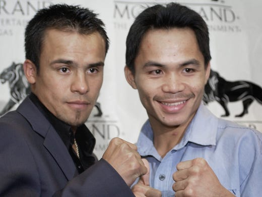 Manny Pacquiao was 25 years old and posted a 38-2-1 record when he fought 31-year-old Juan Manuel Marquez, who was 42-2 at the time, on May 8, 2004. At stake were Marquez's  IBF and WBA championships.
