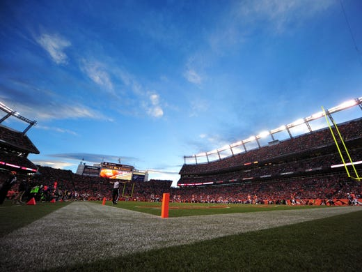 A general view of Sports Authority Field during the third quarter of the game between the Tampa Bay Buccaneers and the Denver Broncos. The Broncos defeated the Buccaneers 31-23.