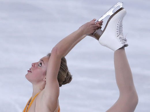 Ashley Wagner of the U.S. performs in the free skate of the ISU Figure Skating Eric Bompard Trophy in Paris on Nov. 17.