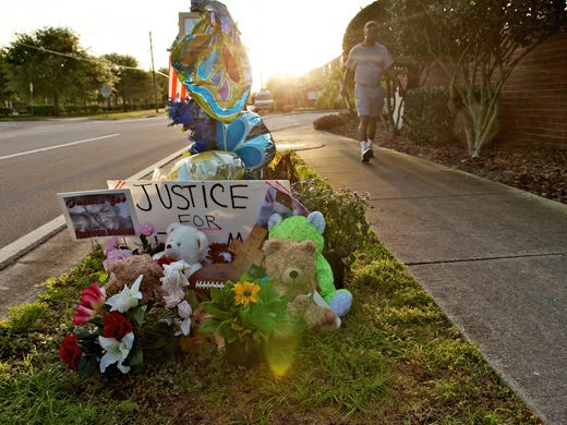 A memorial to Trayvon Martin sits outside The Retreat at Twin Lakes community where Trayvon was shot by George Zimmerman on Feb. 26 in Sanford, Fla. Zimmerman's claim of self-defense has been the source of ongoing controversy.