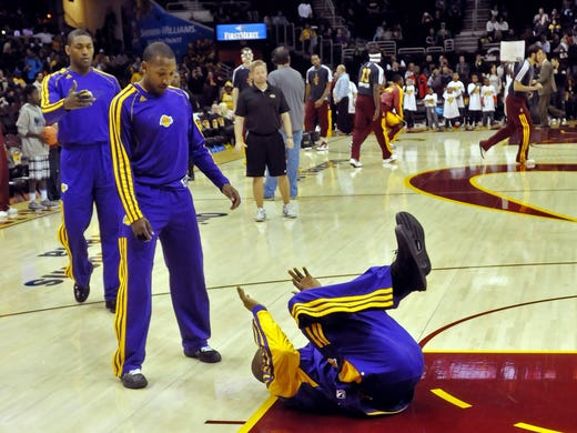 It's a fitting description of the Lakers' season: Kobe Bryant trips during warmups before another loss. Los Angeles is 12-14 after beginning the season with title hopes. Here, we look at those culpable, one-by-one.