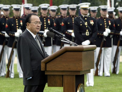 Hawaii Sen. Daniel Inouye speaks at the National POW/MIA Recognition Day ceremony on Sept. 14, 2004. Inouye lost his arm during combat in World War II. He died Monday at 88.